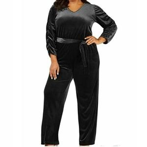 NY Collection 3X Black Velour Jumpsuit 10BO63